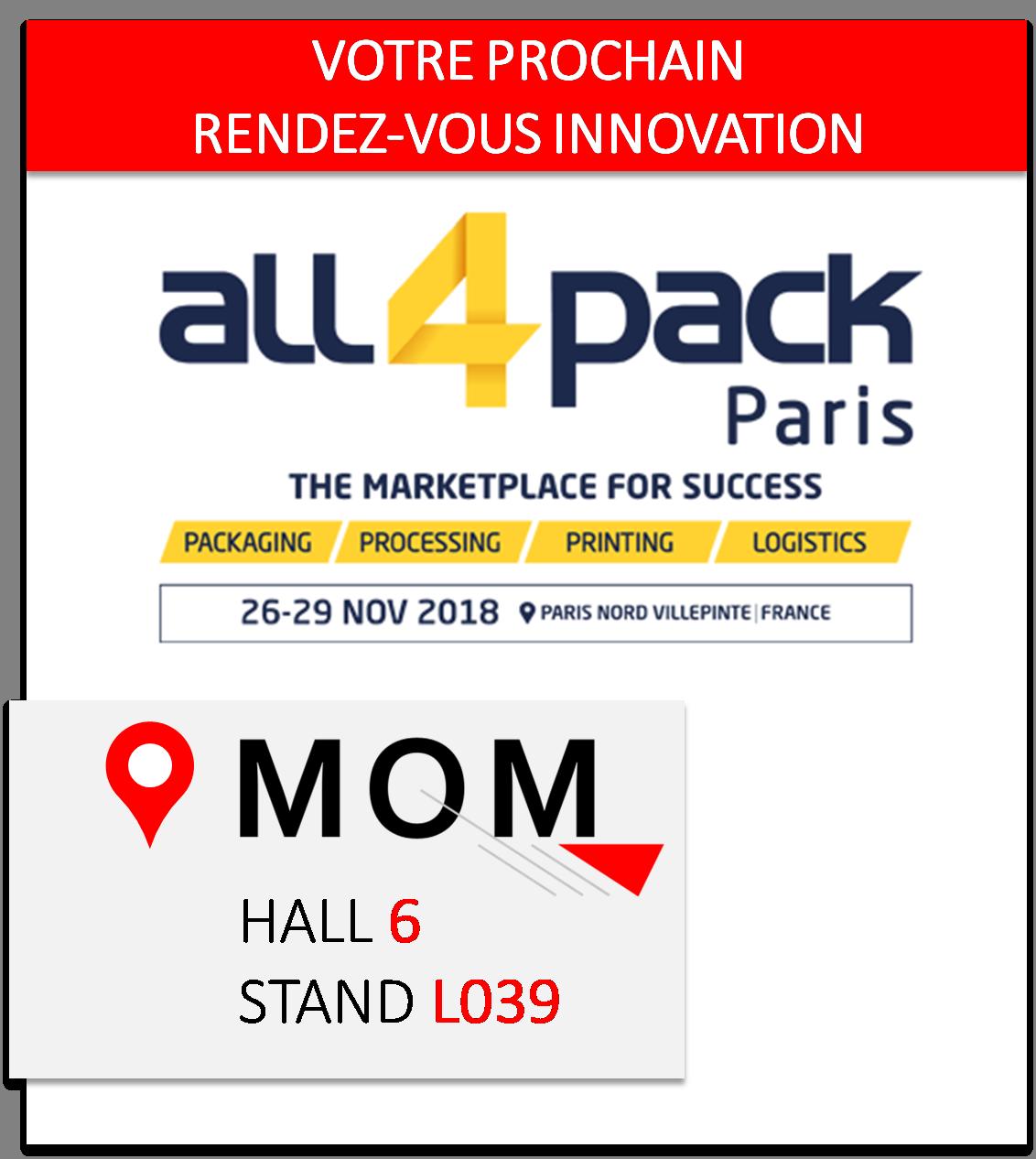 invitation ALL4PACK Paris 2018 par MOM Packaging